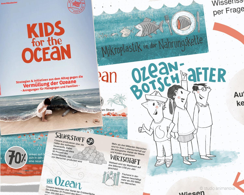 Kids for the Ocean Illustrationen und Wissenswertes zu Ozean und Müllvermeidung